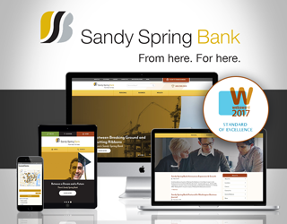 Sandy Spring Bank Website Selected as Standard of Excellence Winner In 2017 WebAwards