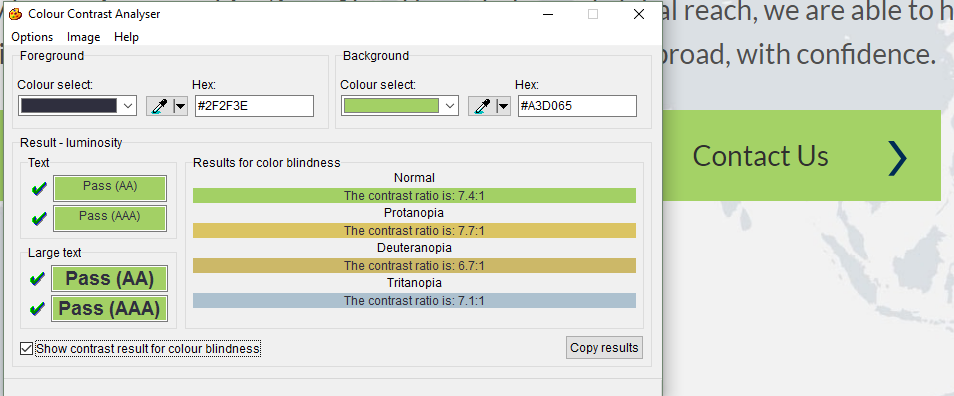 Colour Contrast Analyser Screen