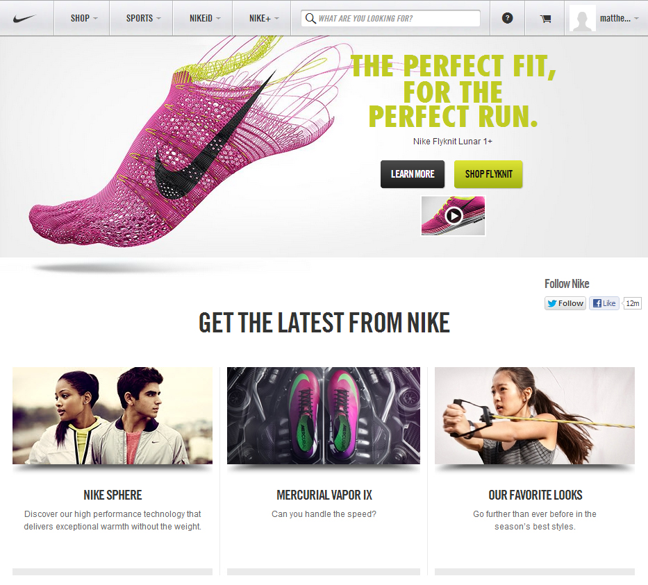 b590c97485a3 The new clean and simplified Nike store places more focus on product photos  and powerful banner graphics.