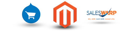 Magento, Drupal Commerce, and Saleswarp logos.