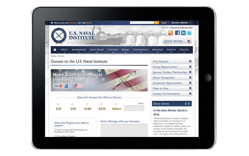 USNI Donations Tablet View